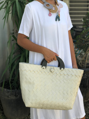 Pura Blanca Bayong Bag with Arc Wooden Handle