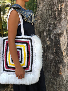 Mamba Square Fringe White Summer Bag