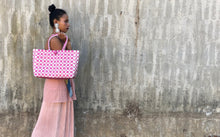 Load image into Gallery viewer, Checkered Chic Bayong in White Pink