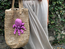 Load image into Gallery viewer, LAST PIECE! Pink Octopus Raffia Tote Bag