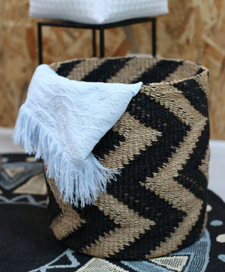 Chevron Black and Natural Color Abaca Hamper