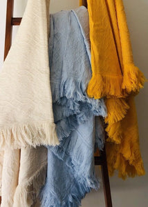 Inabel Fringe Throw Blanket - Available in 3 colors