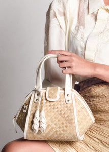 Kawai White Handbag with Leaf Tassel and Long Strap