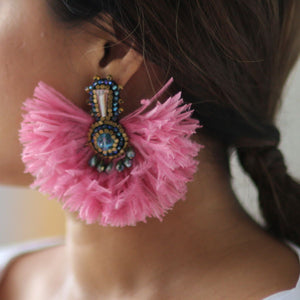 Khiloni Artisan Earrings Made of Swarovski Crystals and Ostrich Feathers