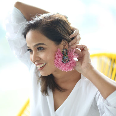 Pre-Order: Farah Abu Khiloni Earrings Made of Swarovski Crystals and Ostrich Feathers