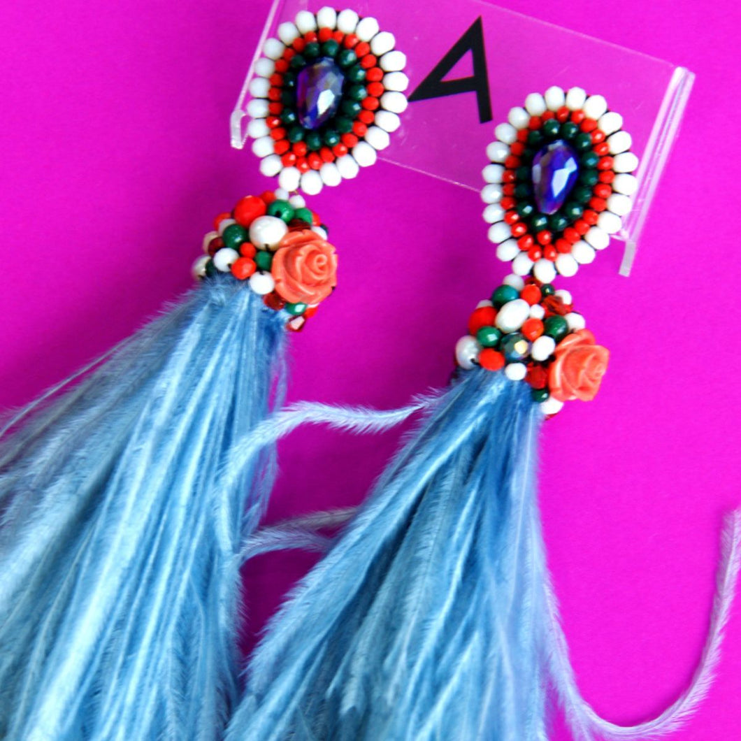 Pre Order: Farah Abu Kohmala Ostrich Feather Earrings