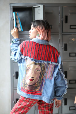 Hand Painted Denim Jacket with Ifugao Weaves