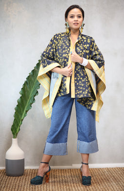Kimono Poncho Hand Woven Hand Painted Hand Embroidered