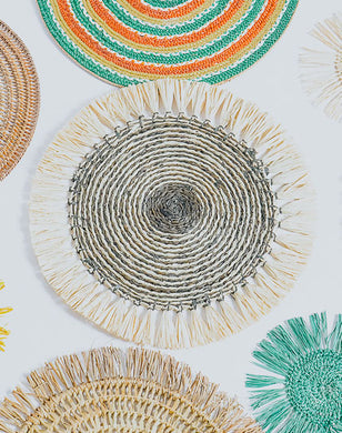 Raffia Fringe Placemats with Coasters - Set of 6