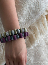 Load image into Gallery viewer, Mark Leather and Paper Bead Bracelet