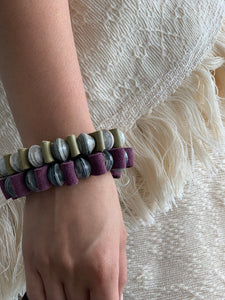 Mark Leather and Paper Bead Bracelet