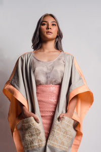 Glamorosa Poncho in Salmon and Yakan Pocket