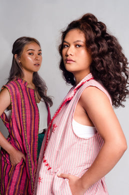 Sleeveless Trench in Binakol Pink from the Tingguian Tribe of Abra