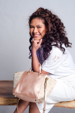 SOLD! Marangal Purse in Dainty Yakan Weave with Rose Gold Cow Leather