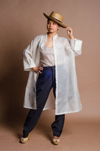 Jusi Barong Trench Jacket with Embelishment and Bead Works by Jeannie Javelosa