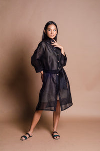 Jusi Barong Dress for Women with Marawi Collar Patch (Black)