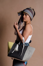 Load image into Gallery viewer, Galak Tote Bag 2 (Handwoven Negros Cotten Fabric in Black, Yellow and Grey)