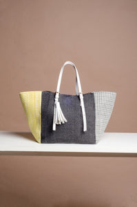 Galak Tote Bag 2 (Handwoven Negros Cotten Fabric in Black, Yellow and Grey)