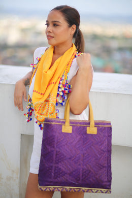 LAST PIECE! Purple Bamboo Hand Bag by the Teduray Tribe of Cotabato