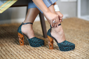 Risque Carved High Heels in Local Embroidery (Green)