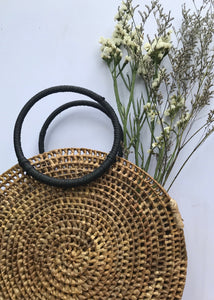 Buwan Round Handmade Bag made of Nito with Red or Black Handle