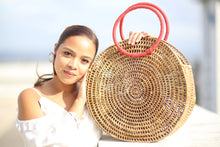 Load image into Gallery viewer, Buwan Round Handmade Bag made of Nito with Red or Black Handle