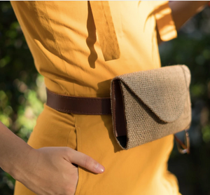 Coffee Sack and Leather Belt Bag