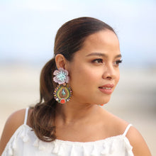 Load image into Gallery viewer, Shimra Artisan Earrings Made of Cultured Pearls, Resin and Fabric Flowers