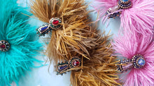 Load image into Gallery viewer, Khiloni Artisan Earrings Made of Swarovski Crystals and Ostrich Feathers