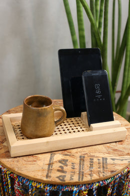 Last 4 Pieces! Wood and Solihiya Phone/Desk Organizer in Mahogany with Walnut Finish