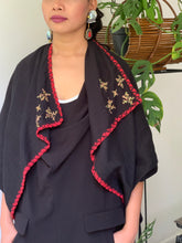 Load image into Gallery viewer, Pinas Sadya Handwoven Poncho In Black with Red Accent