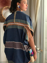 Load image into Gallery viewer, Pinas Sadya Handwoven Poncho In Blue Stripes with Yellow Stitches