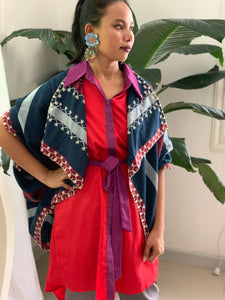 Blue  White and Red Stripes Handwoven Poncho