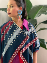 Load image into Gallery viewer, Blue  White and Red Stripes Handwoven Poncho