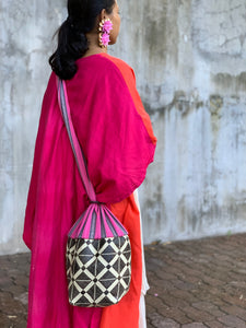 Mangyan Basket Sling Bag in Pink