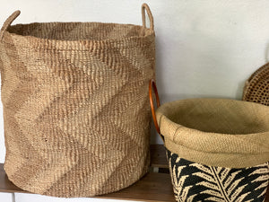 Chevron Tan and Natural Colored Hamper
