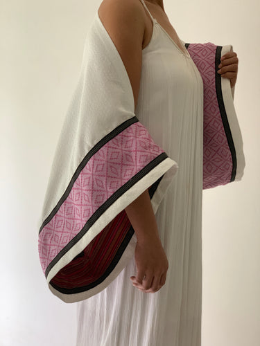 Madignidad White Poncho in Blue Isabela and Pink Inabel