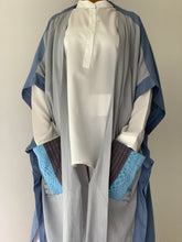 Load image into Gallery viewer, Glamorosa Poncho in Blue with Various Handwoven Philippine Weave Pocket