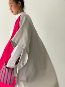 Glamorosa Poncho in Fuchsia with Handwoven Ifugao Pocket