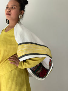Magara White Poncho in Premium Zamboanga and Yellow Negros Weaves