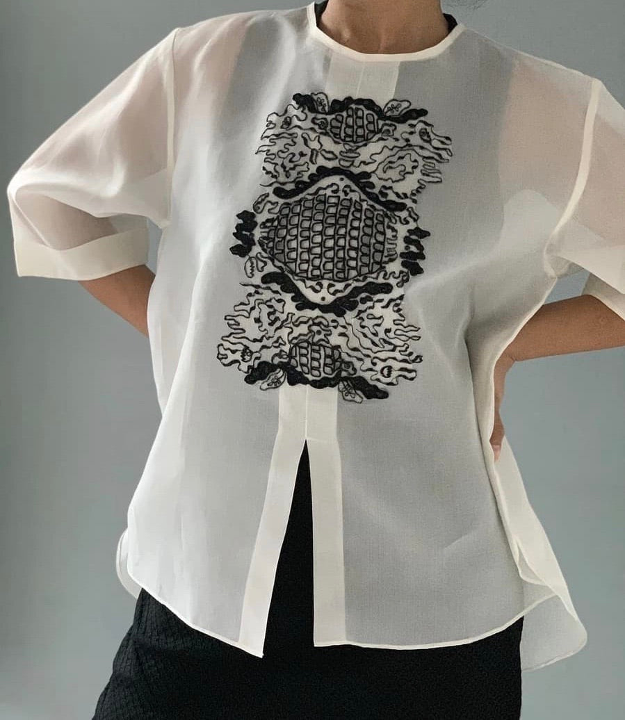Jusi Barong Blouse with Black Beading and Embelishment by Jeannie Javelosa