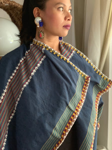 Pinas Sadya Handwoven Poncho In Blue Stripes with Yellow Stitches