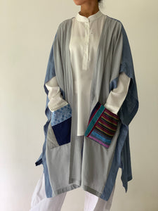 Glamorosa Poncho in Blue with Various Handwoven Philippine Weave Pocket