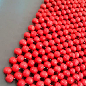 6 Wooden Beads Placemats - Available in Red and Natural