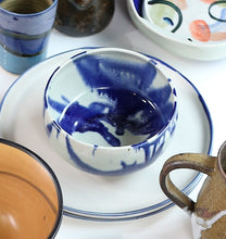Load image into Gallery viewer, Marble Glazed Blue Bowl