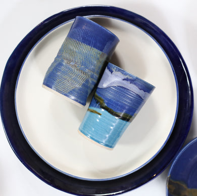 White Plate with Blue Lining