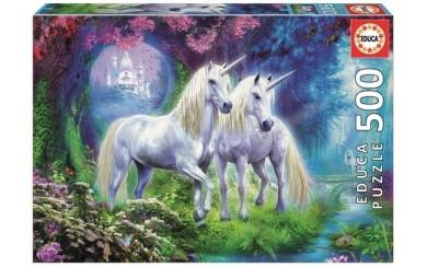 Puzzle 500pc Unicorns In The Forest