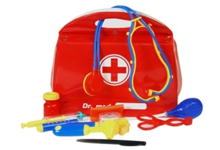 Medical set in soft red case