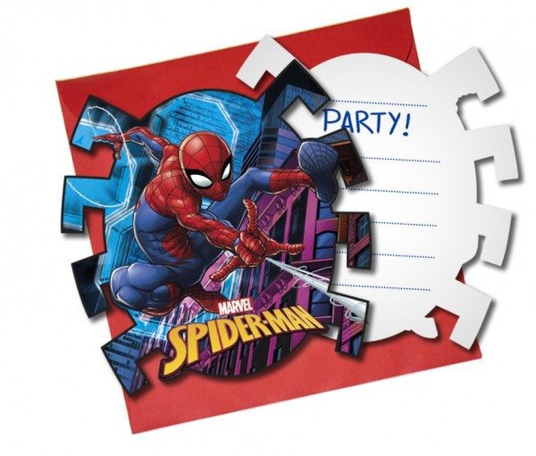 Spiderman Team Up Die Cut Invitations 6pc
