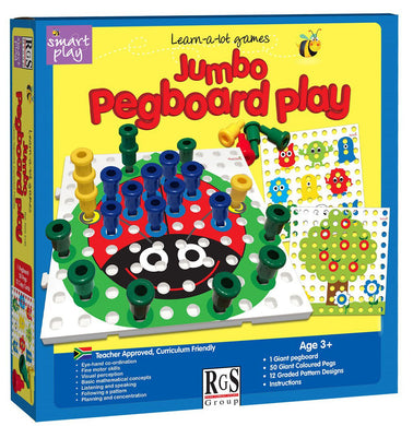 Jumbo Peg Board Play 50x Pegs & Cards